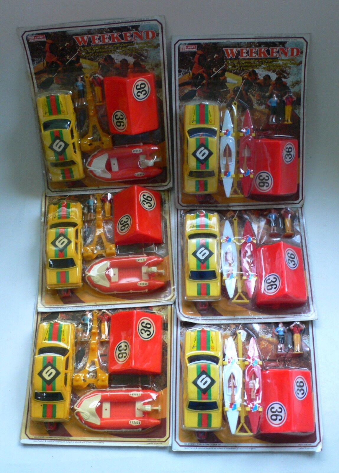 Vintage Lucky Juguetes Juego Mercedes Rally Coche Barco de fin de semana Carpa figuras menta en tarjeta Conjunto de 6