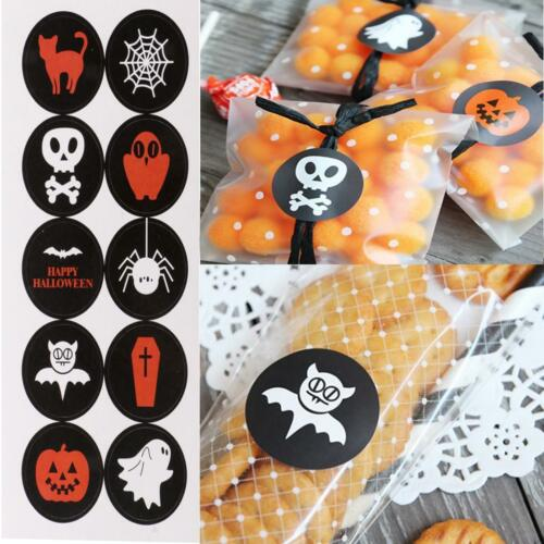 10 Sheets Halloween Stickers Gift Wrapping Treat Box Bag Envelop Seal Labels
