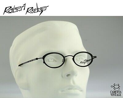 Vintage 90s black and silver unique small hexagon glasses frames mens /& womens NOS Robert Rudger 2232 010 R8