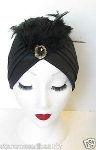 dc3bbc288 Noir & or plume turban vintage années 1920 cloche chapeau 1930 ...