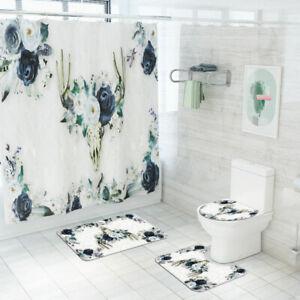 Floral-Deer-Skull-Bathroom-Rug-Shower-Curtain-Non-Slip-Toilet-Lid-Cover-Bath-Mat
