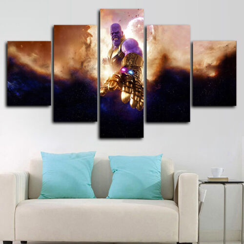 Framed Avenger Endgame Movie Thanos Marvel 5 Piece Canvas Print Wall Art Decor