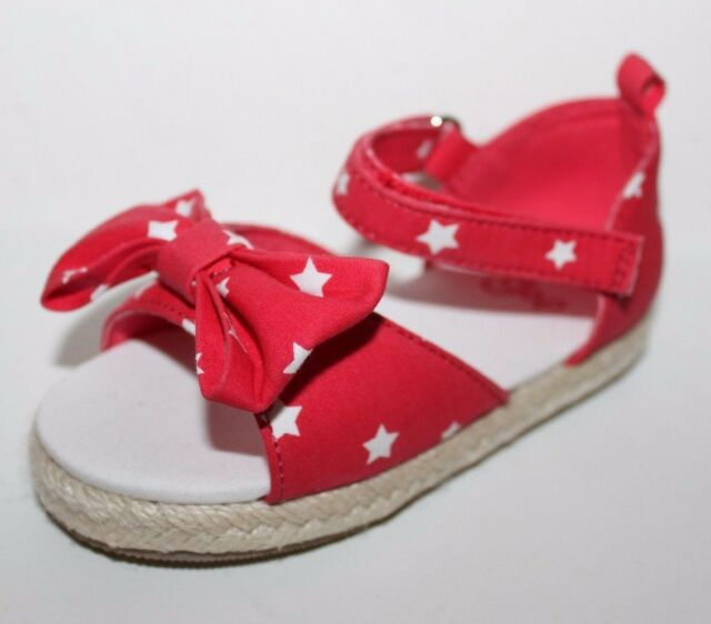 baby Gap NWT Girl's 6 7 8 9 Red  w/ White Stars Canvas Espadrille Sandals