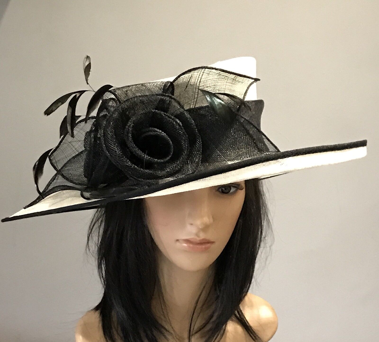 NIGEL RAYMENT IVORY AND BLACK WEDDING ASCOT HAT MOTHER OF THE BRIDE OCCASION