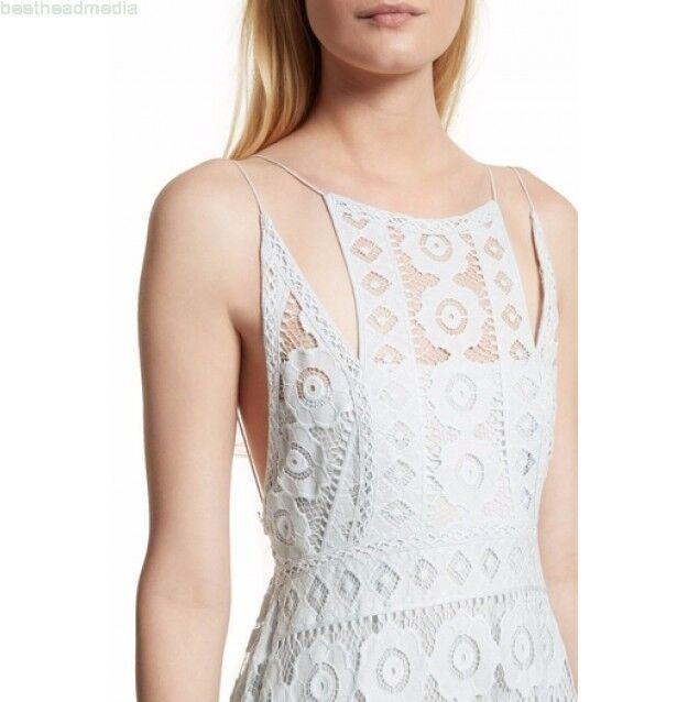 128 NWT Free People sz 10 Just Like Honey Lace Asymmetric CutOut Dress ice bluee