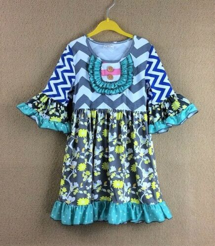 NEW Girls Boutique Ruffle Chevron Floral Gray 3//4 Sleeve Dress 4-5 5-6 6-7