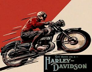 Get There On A Usa Harley Davidson Motorcycle Bike Ride Vintage Poster Repro Ebay