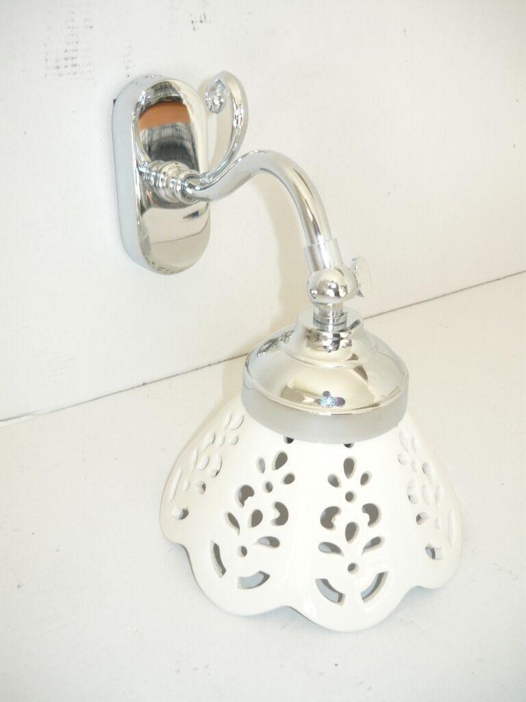 Applique in ottone lucido cromato acciaio plata con vetro 1 luce