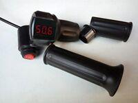 Electric Bike Half Twist Throttle 12-120v Led Display Voltmeter & 3-speed Switch