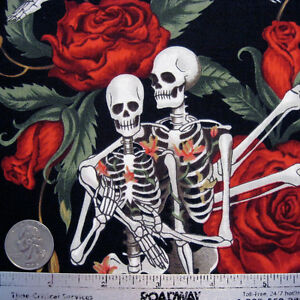 Alexander-Henry-LIFE-039-S-LITTLE-PLEASURES-Black-Quilt-Fabric-by-the-Yard-Skeleton