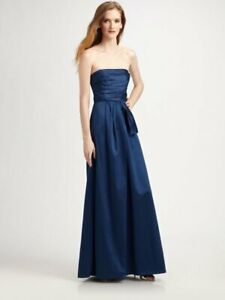 0d37a0a67856 $338 BCBG MaxAzria Ink Blue Cotton Side Bow Sateen Strapless Gown ...