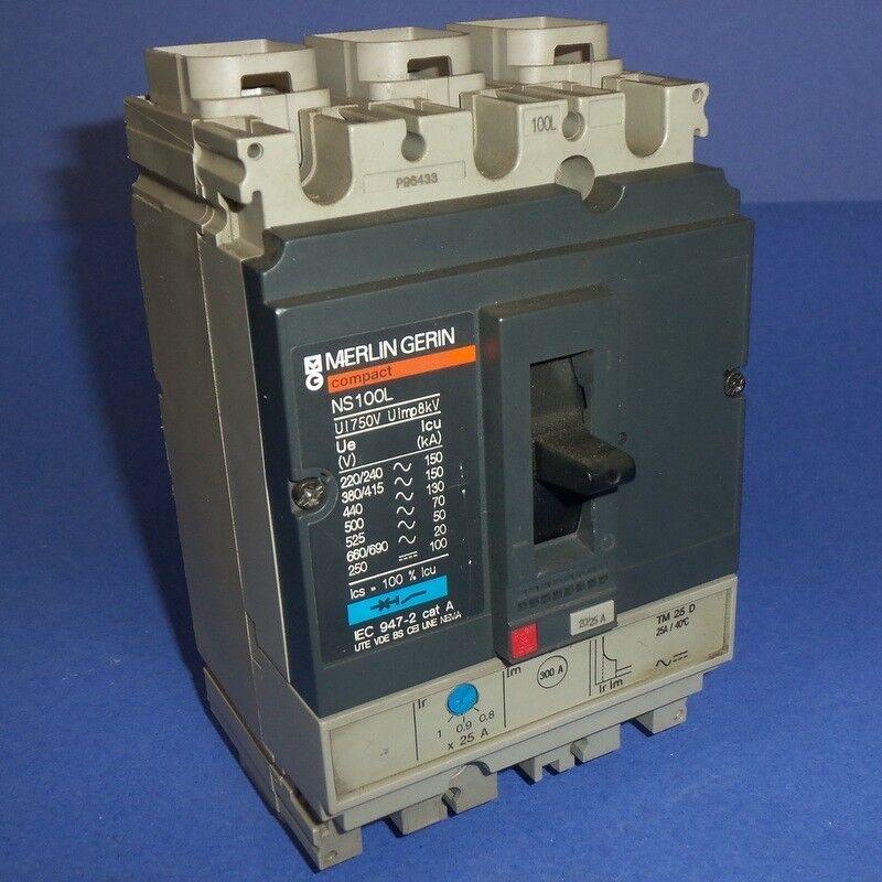 Merlin gerin interruptor de circuito bipolar de de de 25A de 3 NS100L/TM 25 D  PZB  e1b910