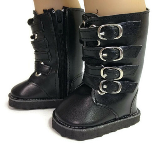 Black Buckle Boots Shoes made for 18 inch American Girl Doll Clothes