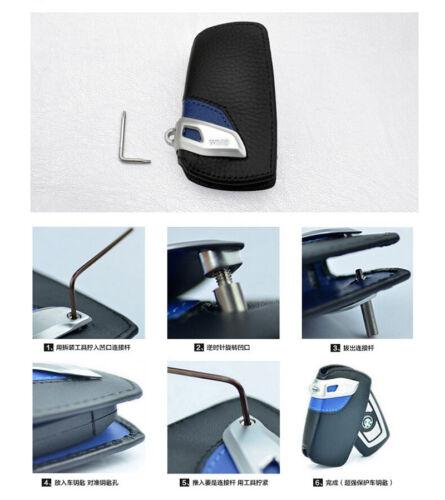 BMW GT Remote Key Leather Case Cover Bag Holder Car Logo Keyring Chain Black/&Red