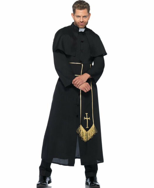 Men/'s Vicar Priest Fancy Dress Stag Party Outfit Hot As Hell Costume M /& L//XL