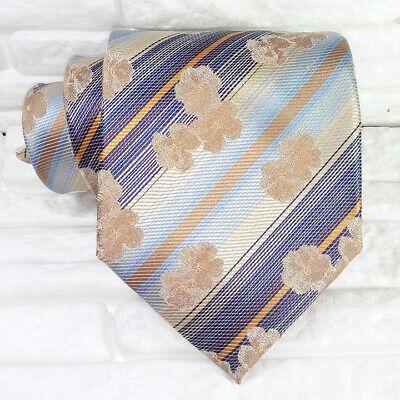 Capace Cravatta Uomo Seta Fiori Blue & Bronzo Made In Italy Matrimoni Business Rp € 39 Lieve E Dolce