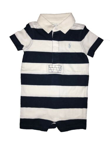 Ex Ralph Lauren Kids Boy Girl Baby Grow Striped Navy Age 6 Months P17