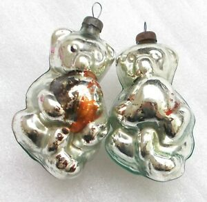 2-Antiker-Russen-Alter-Christbaumschmuck-Glas-Weihnachtsschmuck-Baerenjunge