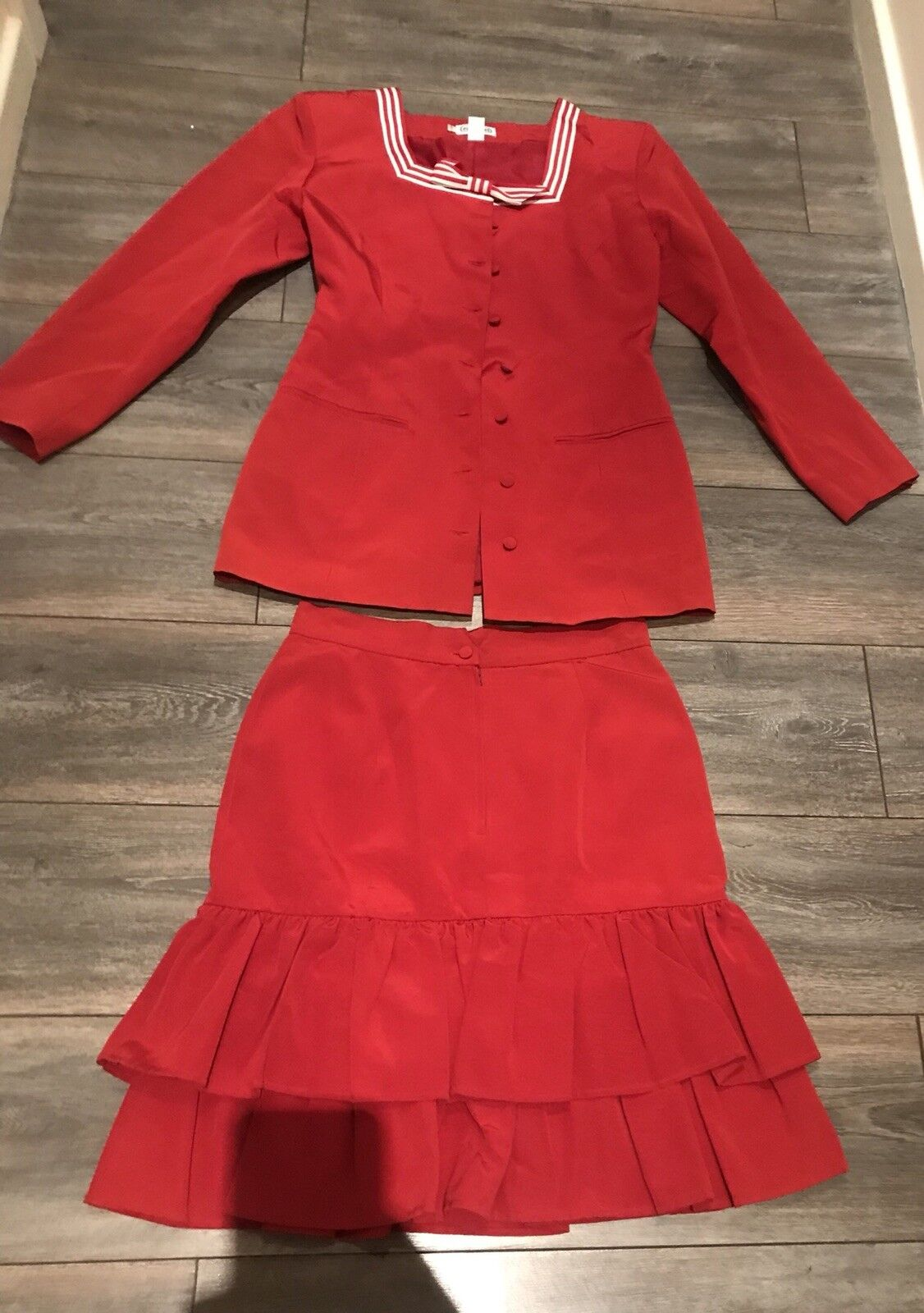 NWT Cacharel Vintage Blazer Bow Detail and Skirt Suit Size 42 10 Made In France