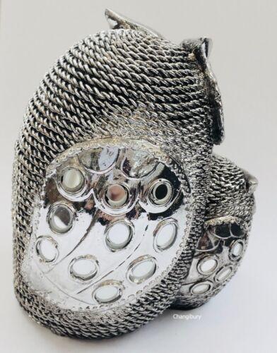 Silver Decorative Owl Family Figurine Ornament Statue Home Decor Art Gift Bird