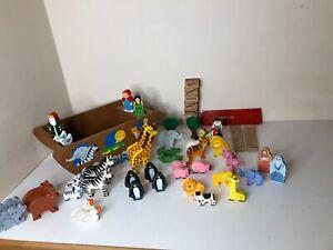 VINTAGE-IN-LEGNO-dell-039-Arca-di-Noe-giocattolo-e-altre-persone-in-legno-e-gli-animali-BARCA