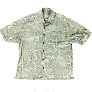 Jamaica-Jaxx-Hawaiian-Men-039-s-Floral-Green-SILK-Shirt-Button-Down-Short-Sleeve