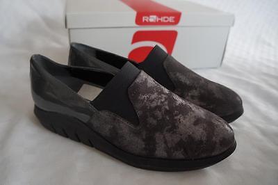 Rohde Halbschuhe Damen Gr. 37 Lackleder grau silber herausnehmb. Sohle