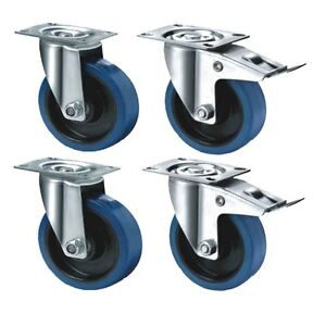 4-Satz-16-Elastikrollen-100mm-Blue-Wheels-Lenkrollen