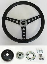 "Jeep CJ5 CJ7 Cherokee Wrangler Wagoneer Black on Black Steering Wheel 14 1/2"""