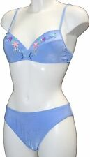 Secondi Perline ricamato con ferretto Bikini Fiordaliso Blu 32 sul busto Taglia 8 fb28
