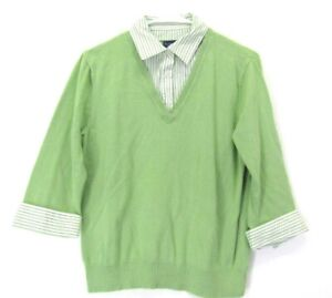 Karen-Scott-Women-039-s-M-V-Neck-Collared-3-4-Sleeve-Shirt-Knit-Sweater-Cotton-Green