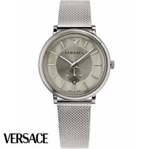 Versace-VBQ060017-V-Circle-silber-Edelstahl-Armband-Uhr-Herren-NEU
