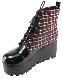 Qupid-Women-039-s-Mob-02-Round-Toe-Lace-up-Platform-Wedge-High-Heel-Ankle-Boots