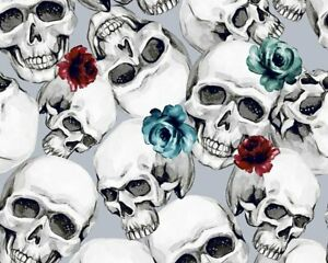 100-Cotton-Digital-Fabric-Skeleton-Skull-Head-Roses-Gothic-150cm-Wide