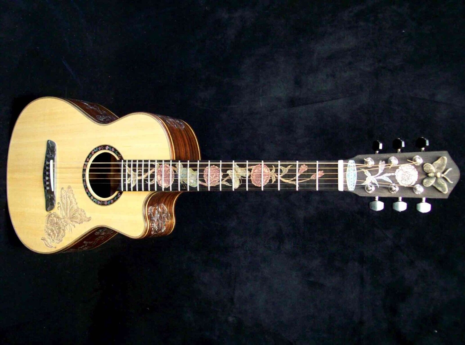 Blauberry Special Order Parlour Guitar Butterfly Motif -  90 Day Delivery