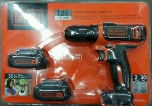 New-Black-amp-Decker-Cordless-Drill-w-2-Batteries-12v-Max-Lithium-Nice-Gift