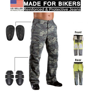 Motorcycle-Motorbike-Jean-Protective-Lining-Knee-Armour-Camo-Biker-Trouser-Pant