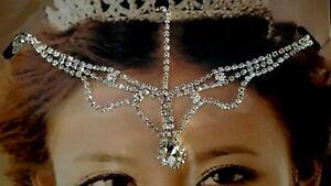 Modestil Haarschmuck Kopfschmuck Haarkette Haarband Strass Stirnkette Bollywood Silber Und Ein Langes Leben Haben.