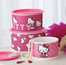 Tupperware Hello Kitty Stacking Canisters 3-pc Set w/ Pink One Touch Seals New