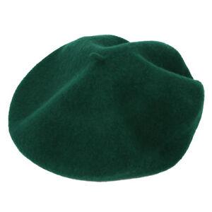 Beret-Artiste-Francais-Couleur-Pleine-Laine-Fille-Hiver-Vert-fonce-H8C5