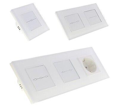 Lichtschalter Glas Touchscreen Steckdose Wechselschalter,Kreuzschalter Weiß Neu