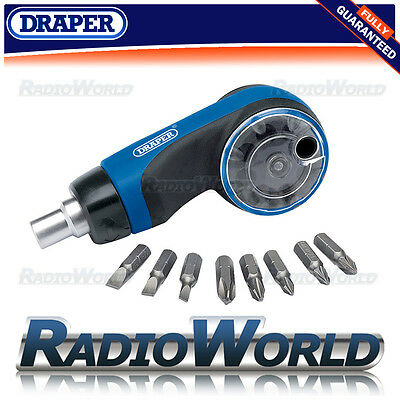 Draper 8 Piece Ratchet Screwdriver and Bit Set Hand Multi Tool DIY 07074