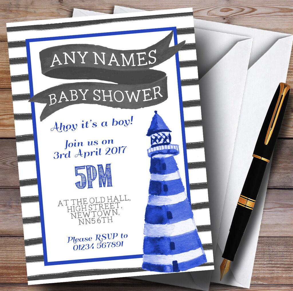 Blau & Weiß Nautical Lighthouse Invitations Baby Shower Invitations