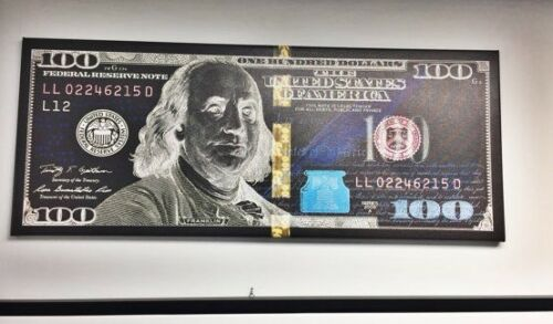Negative Money Canvas Print Abstract 100 Dollar 100 Dollar Bill Canvas Print