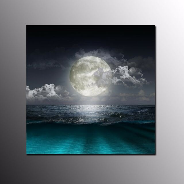 FRAMED CANVAS PRINT Poster Round Moon Painting Modern Canvas Wall Art Home Decor
