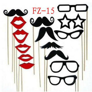 15x party photo booth selfie props proms wedding lips moustache fun on sticks ebay. Black Bedroom Furniture Sets. Home Design Ideas