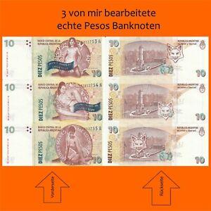 """3 ECHTE Banknoten / von mir bearbeitet """"Money makes me look sexy"""""""