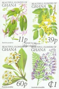 complete.issue. Unmounted Mint Ghana 779b-782b Never Hinged 1978 Flora