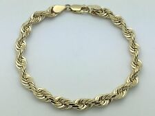 "Men's Solid 14K Yellow Gold 7.5"" Diamond Cut Rope Chain Bracelet 18.5 grams 6 mm"