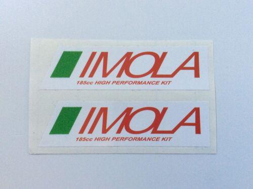 2x IMOLA Vinyl Decals 90mm x 20mm Lambretta 185cc